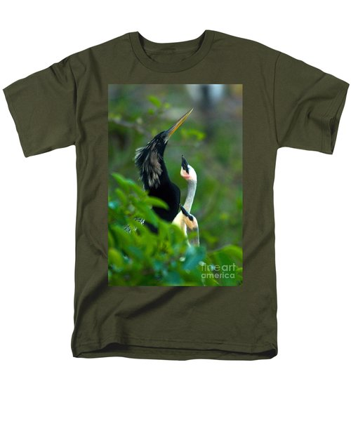 Anhinga Adult With Chicks Men's T-Shirt  (Regular Fit) by Mark Newman