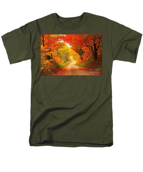 Men's T-Shirt  (Regular Fit) featuring the photograph Autumn Cameo Road by Terri Gostola