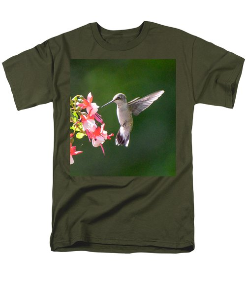 Backlit Fuchsia And Hummer Men's T-Shirt  (Regular Fit) by Amy Porter