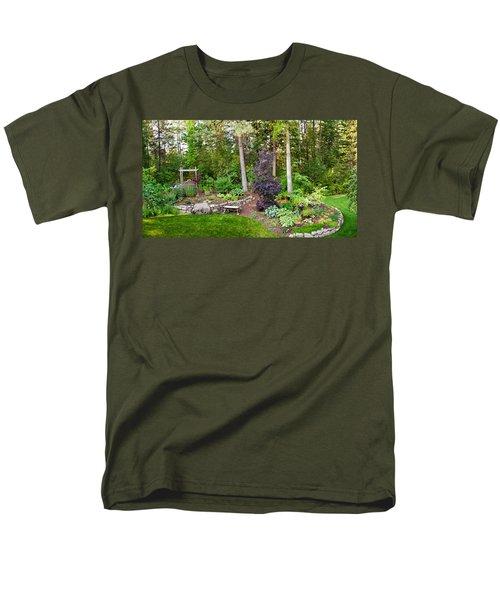 Backyard Garden In Loon Lake, Spokane Men's T-Shirt  (Regular Fit) by Panoramic Images