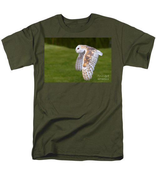 Men's T-Shirt  (Regular Fit) featuring the photograph Barn Owl In Flight by Nick  Biemans
