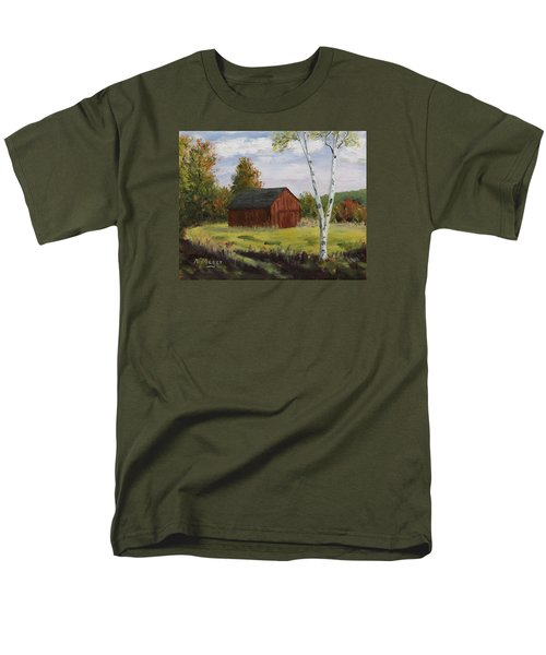 Barn With Lone Birch Men's T-Shirt  (Regular Fit) by Alan Mager