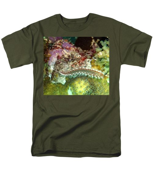 Men's T-Shirt  (Regular Fit) featuring the photograph Bearded Fireworm On Rainbow Coral by Amy McDaniel