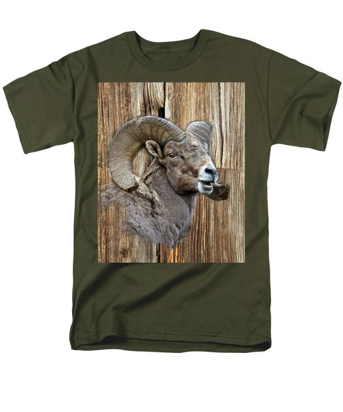 Bighorn Sheep Barnwood Men's T-Shirt  (Regular Fit) by Steve McKinzie