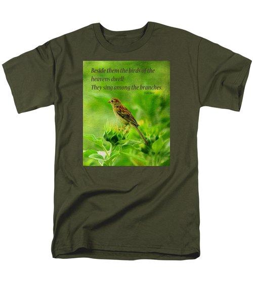 Bird In A Sunflower Field Scripture Men's T-Shirt  (Regular Fit) by Sandi OReilly