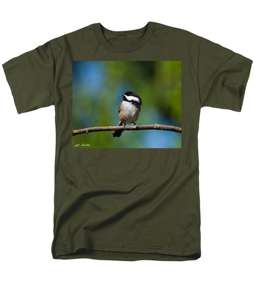 Black Capped Chickadee Perched On A Branch Men's T-Shirt  (Regular Fit) by Jeff Goulden