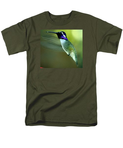 Men's T-Shirt  (Regular Fit) featuring the photograph Black Chinned Male In Flight To Feeder by Jay Milo