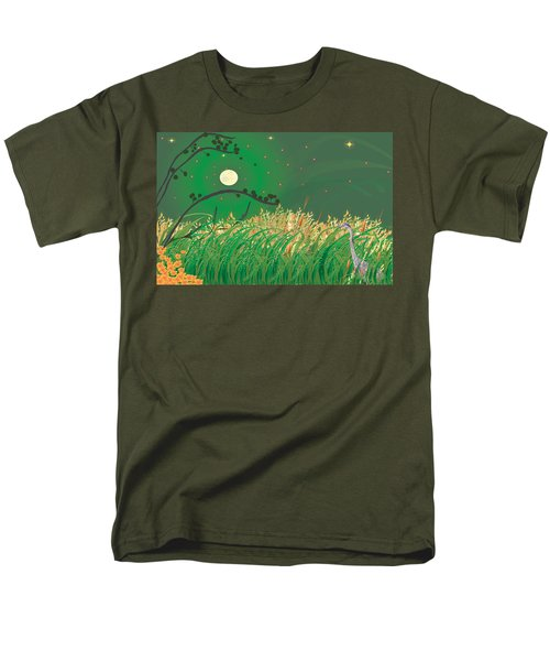 Men's T-Shirt  (Regular Fit) featuring the digital art Blue Heron Grasses by Kim Prowse