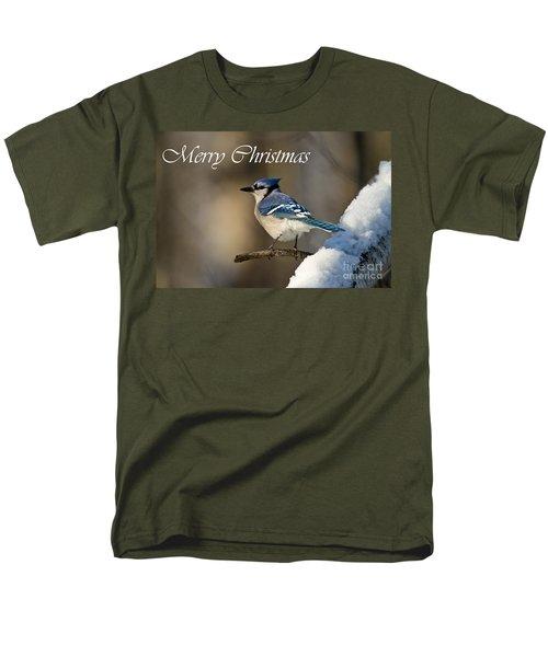 Blue Jay Christmas Card 2 Men's T-Shirt  (Regular Fit) by Michael Cummings