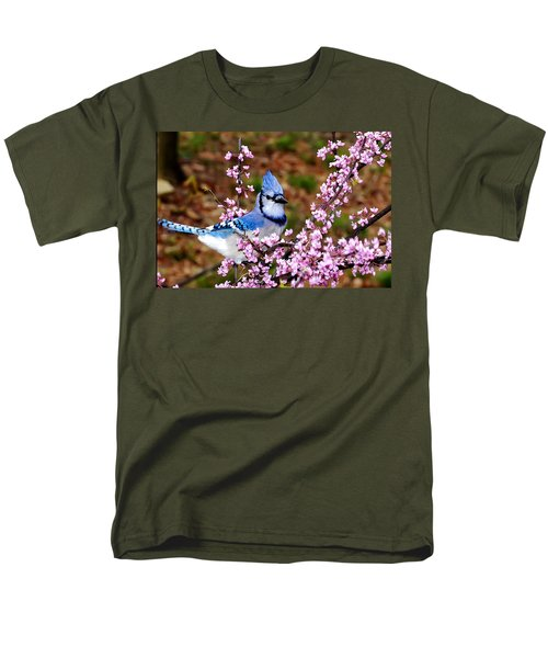 Blue Jay In The Pink Men's T-Shirt  (Regular Fit) by Randall Branham