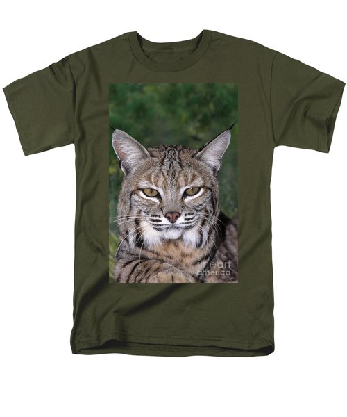 Bobcat Portrait Wildlife Rescue Men's T-Shirt  (Regular Fit) by Dave Welling