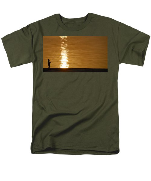 Boy Fishing At Sunset Men's T-Shirt  (Regular Fit) by Charles Beeler