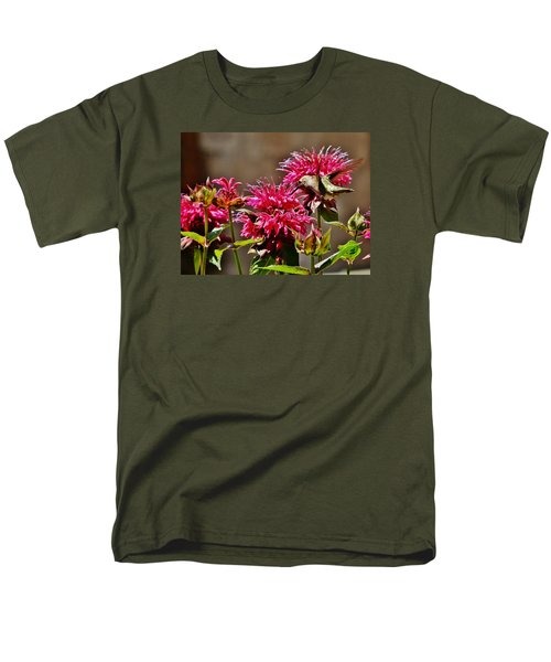 Men's T-Shirt  (Regular Fit) featuring the photograph Breakfast At The Bee Balm by VLee Watson
