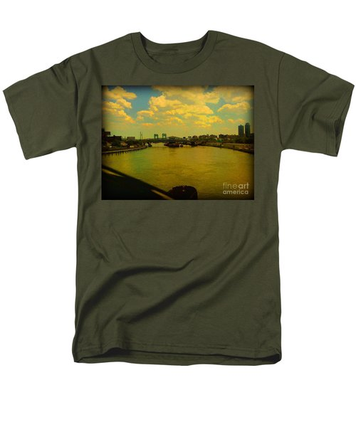 Men's T-Shirt  (Regular Fit) featuring the photograph Bridge With Puffy Clouds by Miriam Danar