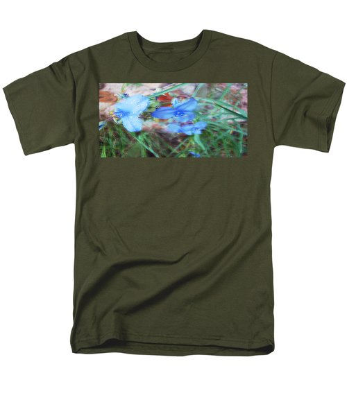 Men's T-Shirt  (Regular Fit) featuring the photograph Brilliant Blue Flowers by Cathy Anderson