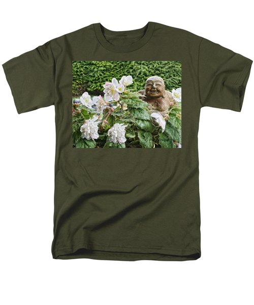 Budda And Begonias Men's T-Shirt  (Regular Fit) by Denise Romano