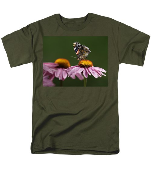 Men's T-Shirt  (Regular Fit) featuring the photograph Butterfly Red Admiral On Echinacea by Peter v Quenter