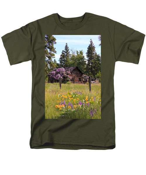 Men's T-Shirt  (Regular Fit) featuring the photograph Cabin And Wildflowers by Athena Mckinzie