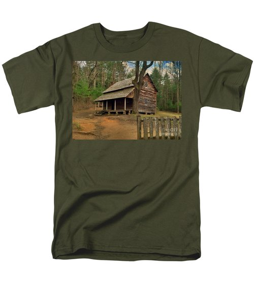 Cades Cove Cabin Men's T-Shirt  (Regular Fit) by Janice Spivey