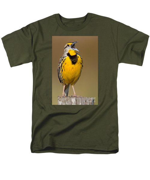 Calling Eastern Meadowlark Men's T-Shirt  (Regular Fit) by Jerry Fornarotto