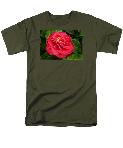 Men's T-Shirt  (Regular Fit) featuring the photograph Camellia Japonica ' Dixie Knight ' by William Tanneberger