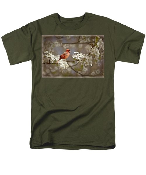 Cardinal And Blossoms Men's T-Shirt  (Regular Fit) by Bonnie Willis