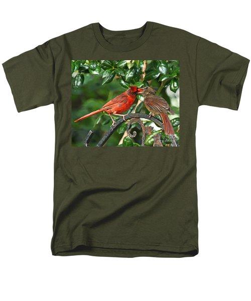 Men's T-Shirt  (Regular Fit) featuring the photograph Cardinal Bird Valentines Love  by Luana K Perez