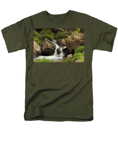 Men's T-Shirt  (Regular Fit) featuring the photograph Cascade In Lower Ice Lake Basin by Alan Vance Ley