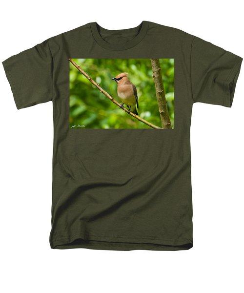 Cedar Waxwing Gathering Nesting Material Men's T-Shirt  (Regular Fit) by Jeff Goulden