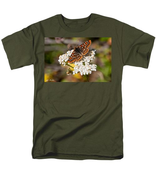 Men's T-Shirt  (Regular Fit) featuring the photograph Checkerspot Butterfly On A Yarrow Blossom by Jeff Goulden