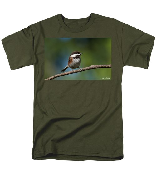 Chestnut Backed Chickadee Perched On A Branch Men's T-Shirt  (Regular Fit) by Jeff Goulden