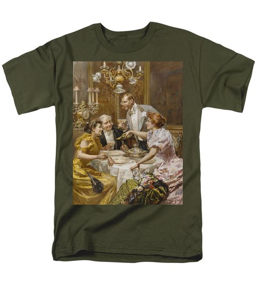 Christmas Eve Dinner In The Private Dining Room Of A Great Restaurant Men's T-Shirt  (Regular Fit) by Ludovico Marchetti