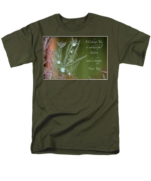 Men's T-Shirt  (Regular Fit) featuring the mixed media Christmas Greeting Card Ice Flowers by Peter v Quenter