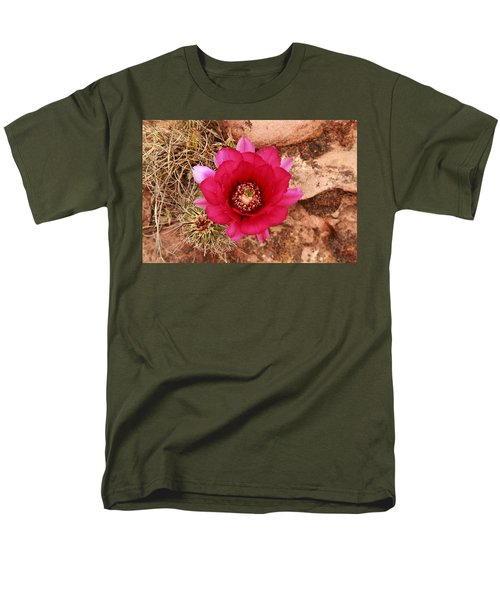 Men's T-Shirt  (Regular Fit) featuring the photograph Claret Cup Cactus On Red Rock In Sedona by Alan Vance Ley