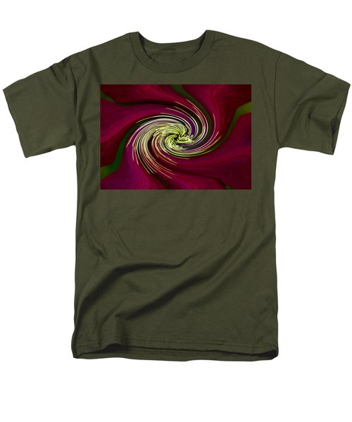 Men's T-Shirt  (Regular Fit) featuring the photograph Claret Red Swirl Clematis by Debbie Oppermann