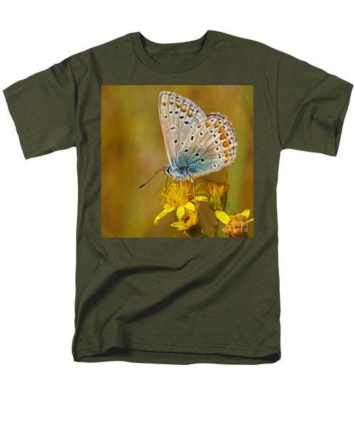 Closeup Of A Common Blue Butterfly Men's T-Shirt  (Regular Fit) by Nick  Biemans