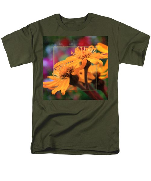 Men's T-Shirt  (Regular Fit) featuring the photograph Color Pizzaz With Collaged Textures by Sandra Foster
