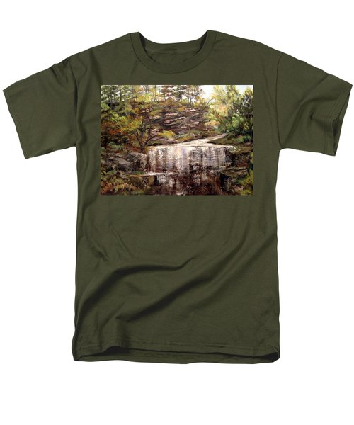 Men's T-Shirt  (Regular Fit) featuring the painting Cool Waterfall by Dorothy Maier