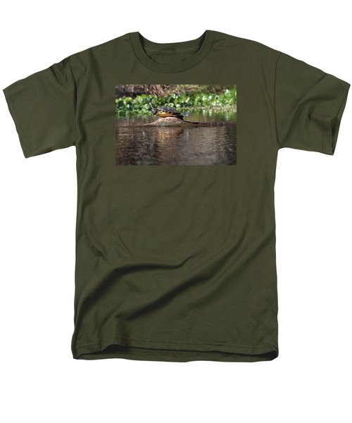 Men's T-Shirt  (Regular Fit) featuring the photograph Cooter On Alligator Log by Paul Rebmann