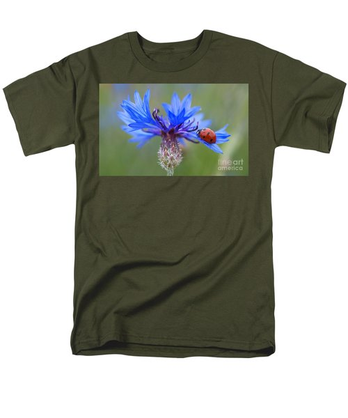 Men's T-Shirt  (Regular Fit) featuring the photograph Cornflower Ladybug Siebenpunkt Blue Red Flower by Paul Fearn