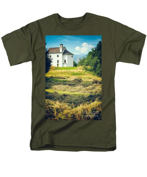Men's T-Shirt  (Regular Fit) featuring the photograph Country Church With Hay by Silvia Ganora