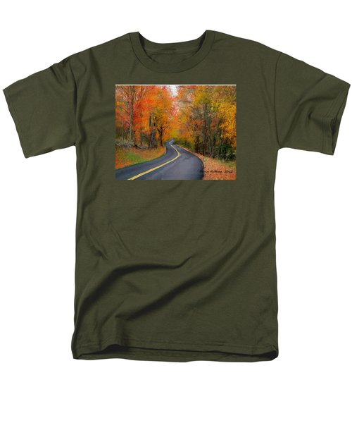Men's T-Shirt  (Regular Fit) featuring the painting Country Road In Autumn by Bruce Nutting