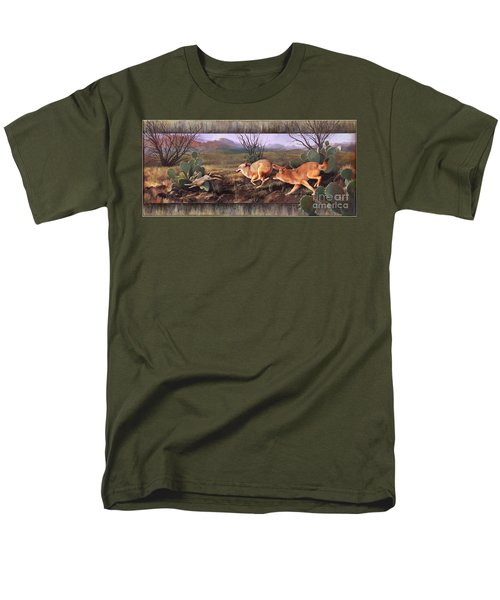 Men's T-Shirt  (Regular Fit) featuring the painting Coyote Run With Boarder by Rob Corsetti