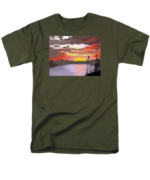 Men's T-Shirt  (Regular Fit) featuring the digital art Crater Lake by Terry Frederick