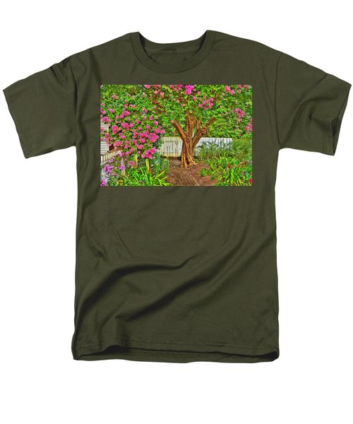 Men's T-Shirt  (Regular Fit) featuring the photograph Crepe Myrtle In Wiliamsburg Garden by Jerry Gammon
