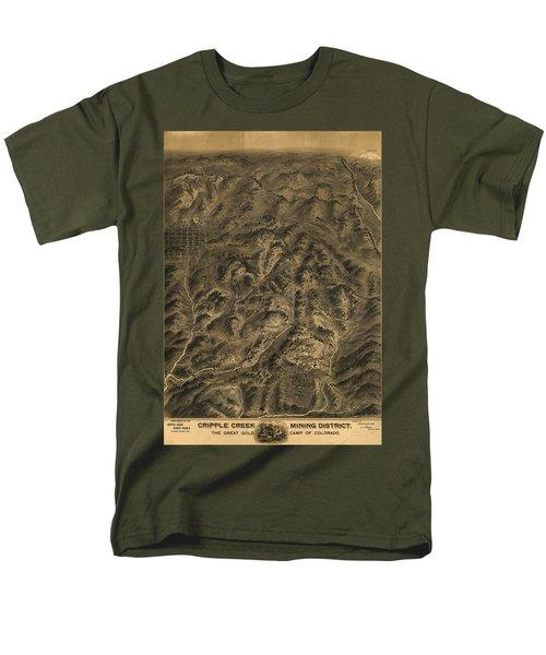 Antique Map - Cripple Creek Mining District Birdseye Map - 1895 Men's T-Shirt  (Regular Fit) by Eric Glaser