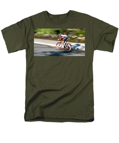 Men's T-Shirt  (Regular Fit) featuring the photograph Cyclist Racing The Clock by Kevin Desrosiers