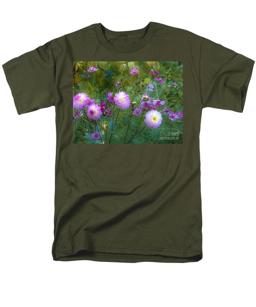 Men's T-Shirt  (Regular Fit) featuring the photograph Dahlias And Cosmos  by Judy Via-Wolff