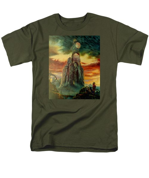 Men's T-Shirt  (Regular Fit) featuring the painting Defenders Of Rocky Desert by Henryk Gorecki