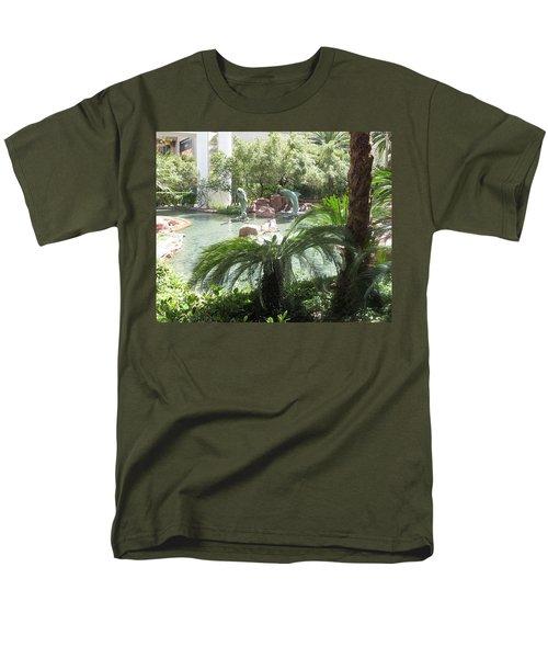 Dolphin Pond And Garden Green Men's T-Shirt  (Regular Fit) by Navin Joshi